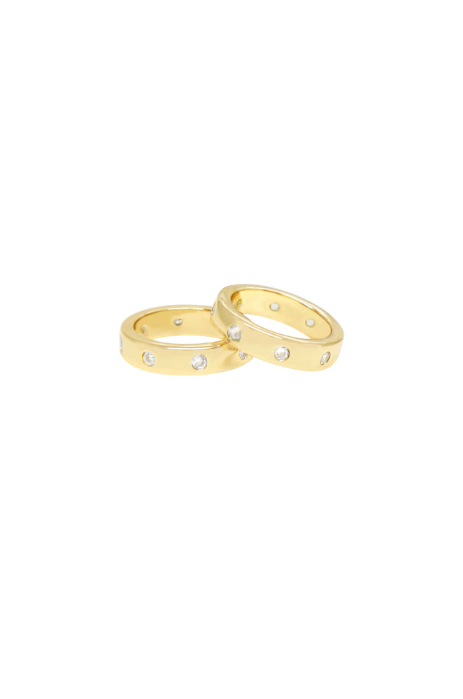 Kingsman Crystal Dotted 18k Gold Plated Band Ring Set