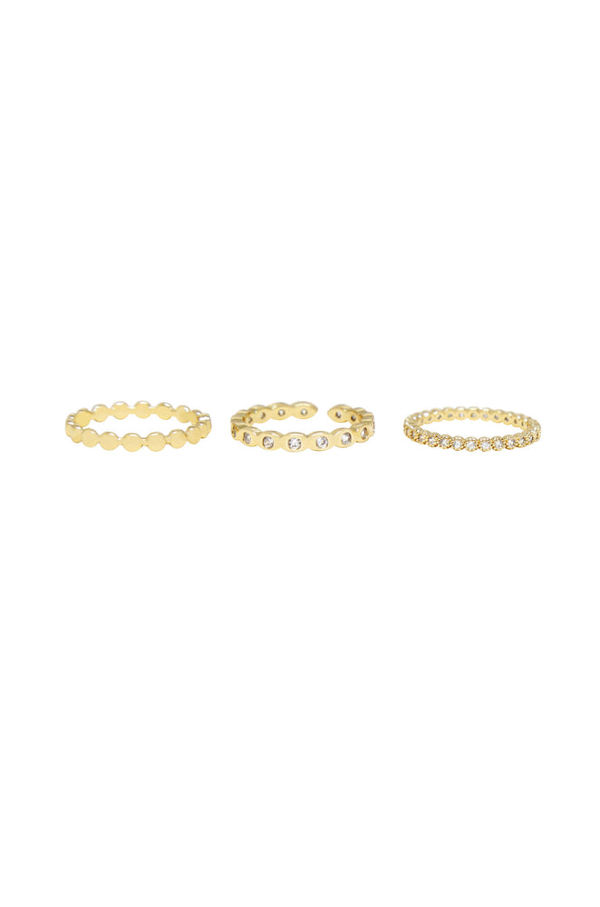 Small Bits of Bling Crystal and 18k Gold Plated Ring Set