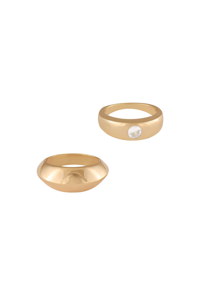 Statement 18k Gold Plated Band Ring Set