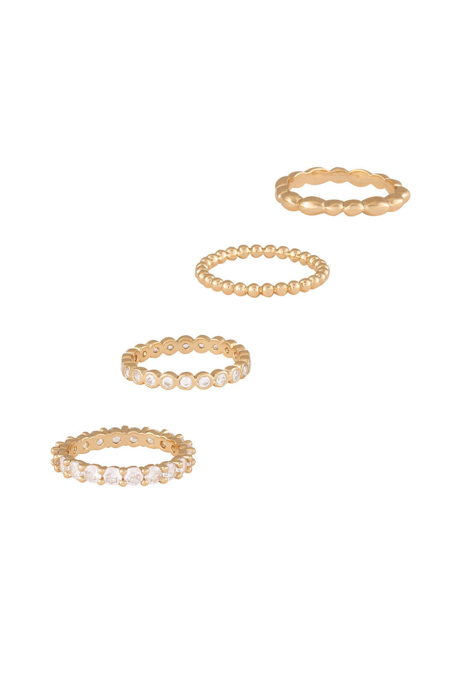 Mini Crystal Essentials 18k Gold Plated Ring Stack