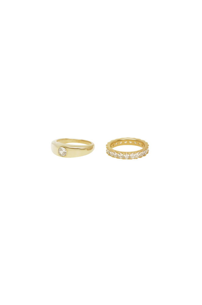 Simple Touch Crystal & 18k Gold Plated Ring Set