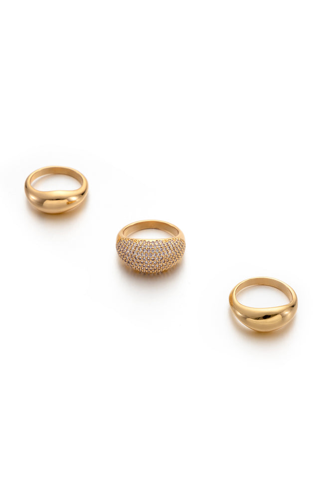 Timeless Glamour 18k Gold Plated Ring Set