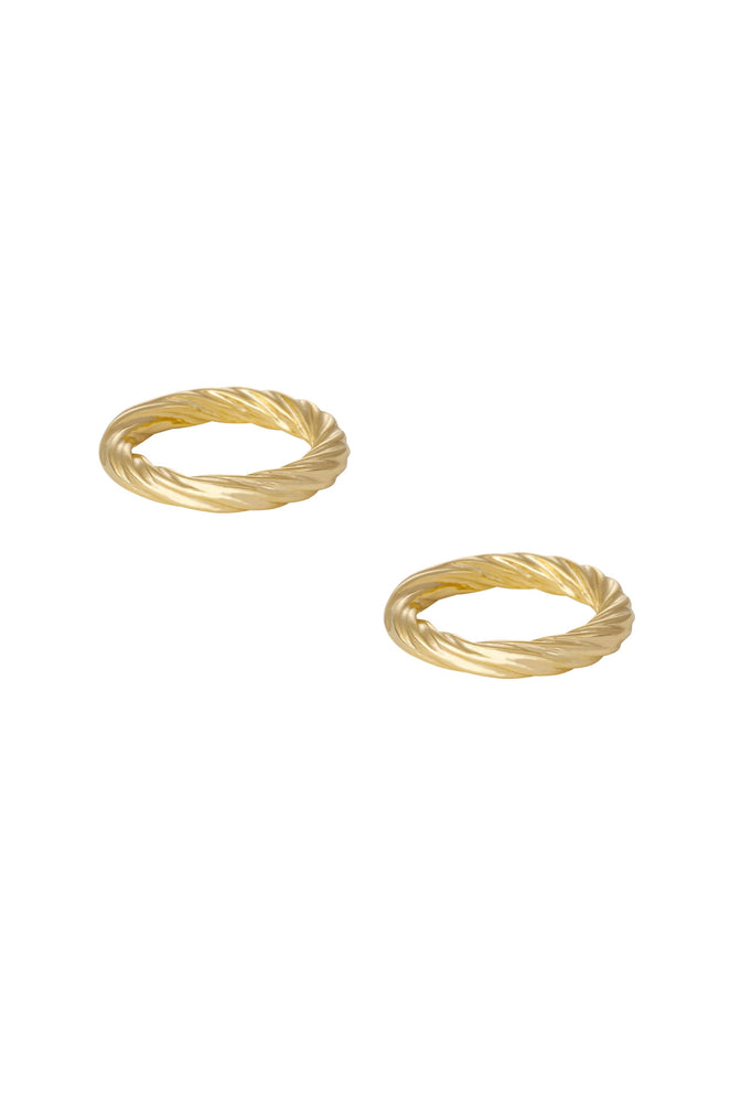 Golden Twists 18k Gold Plated Ring Set of 2
