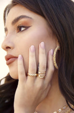 Hand Worked 18k Gold Plated Ring Set of 3