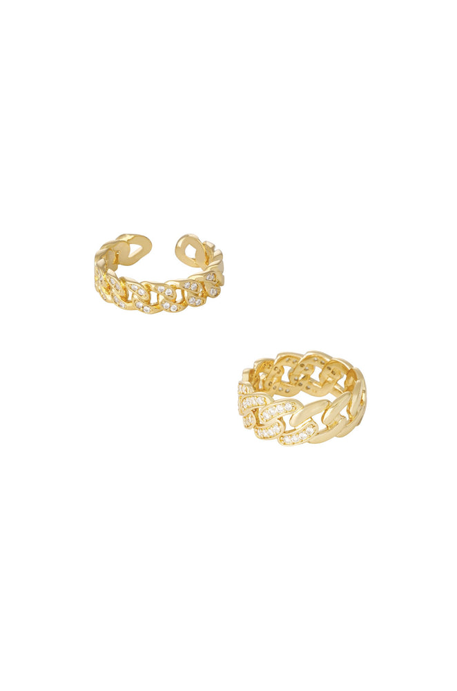 Crystal Interlinked 18k Gold Plated Ring Set of 2