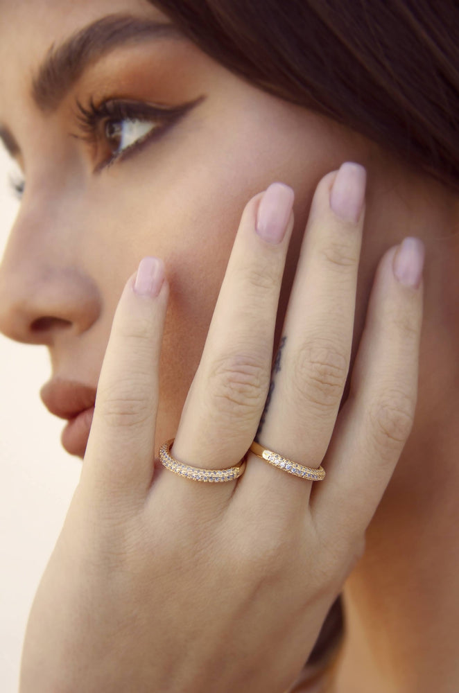 Simple Sparkle Band 18k Gold Plated Ring Set