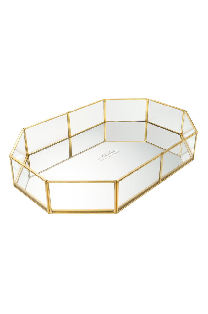 Long Mirror Bottom Jewelry and Display Tray