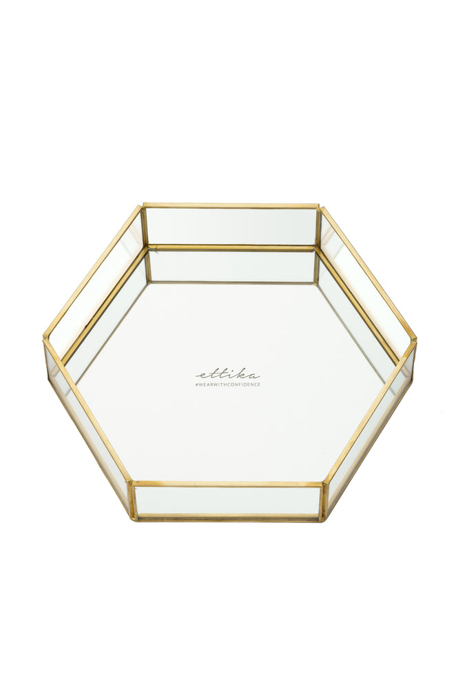 Large Mirror Bottom Jewelry and Display Tray