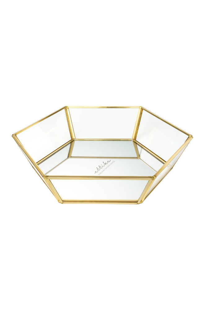 Large High Sided Mirror Bottom Jewelry and Display Tray