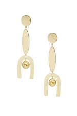 Linear Geometric Dangle 18k Gold Plated Earrings