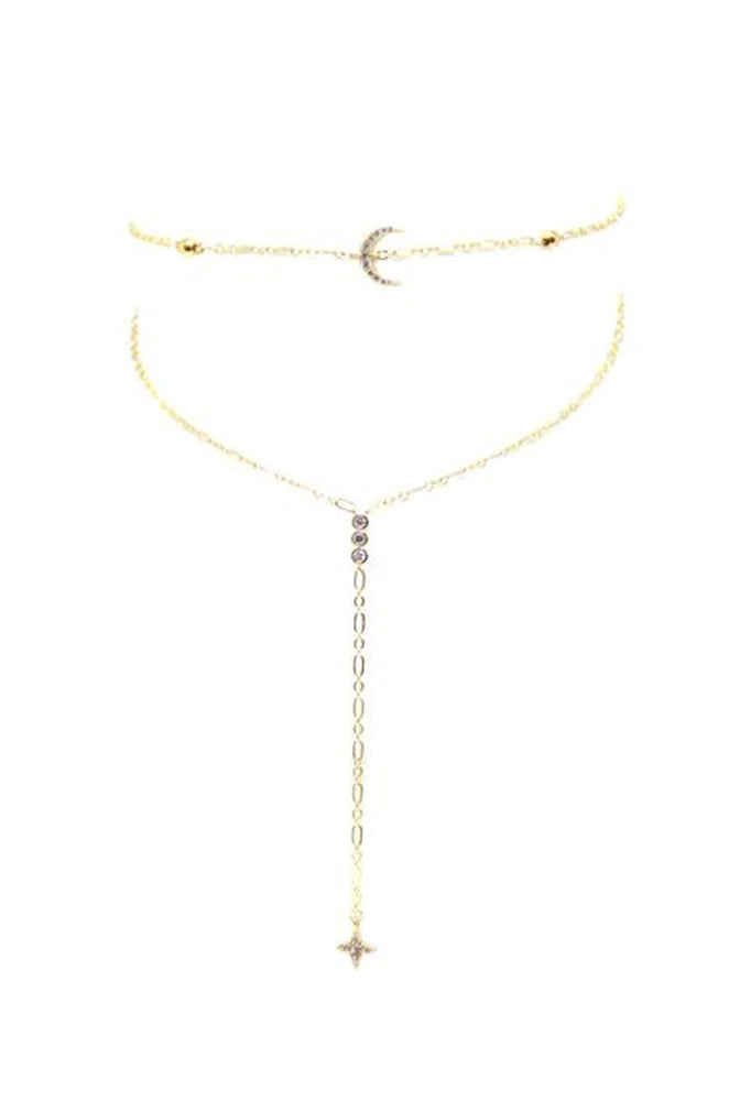Womans Choker - Bali Choker With Moon In Gold