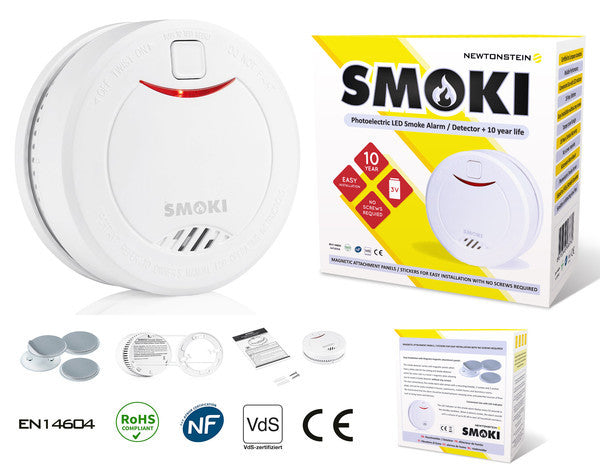 Smoki - Photoelectric Smoke Detector +10 year lithium battery, Red LED indicator and Easy magnetic installation (no screws), Test and hush button, EN14604, ROHS, NF292, VDS & CE standards certified