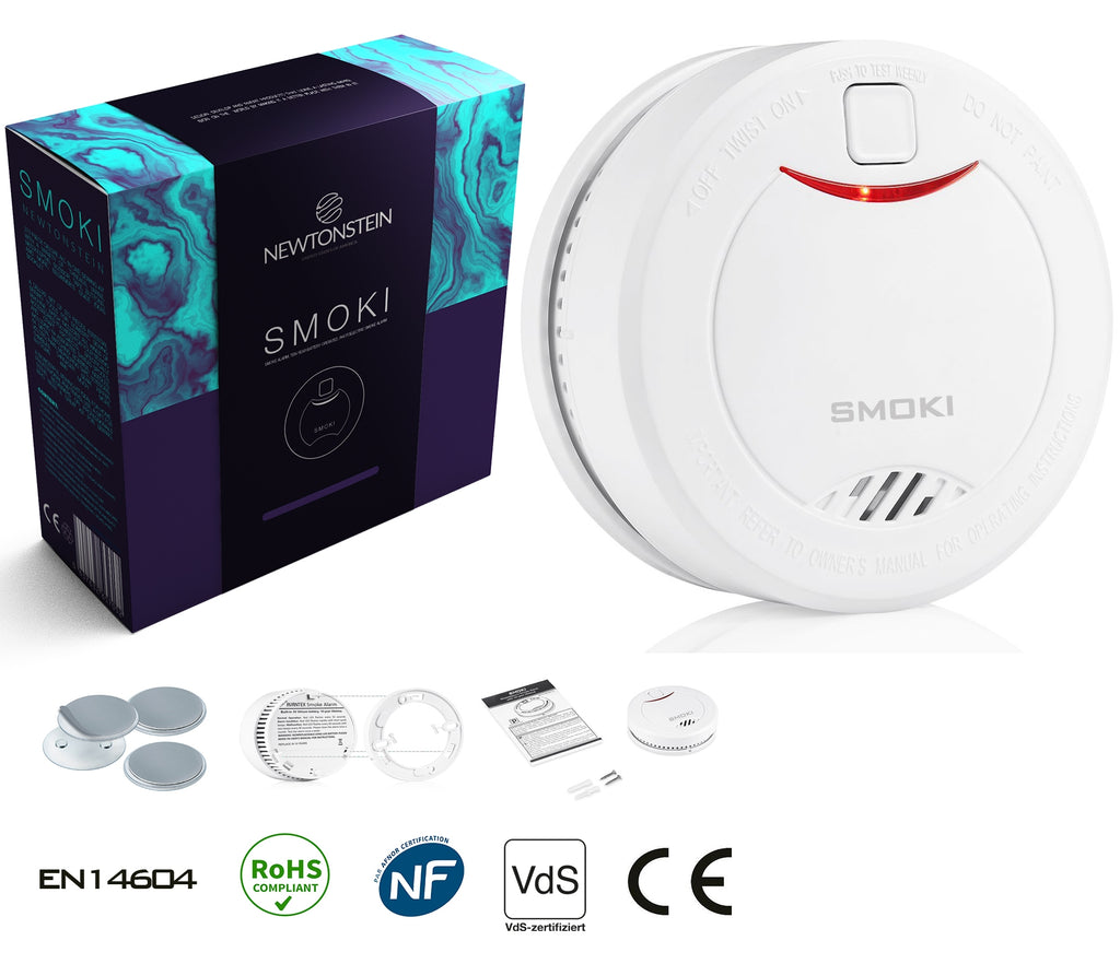 Smoki - Photoelectric Smoke Detector 10 year lithium battery, Magnetic installation (no screws),