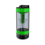 Intelishake , Grasshopper Green - Shaker bottle Multi-Compartment Protein/Workout/Juice with water