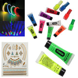 NeonGlo - 220 pcs party kit with Glowing Stick Bracelets, 3D and glow ball Connectors, UV Neon Face