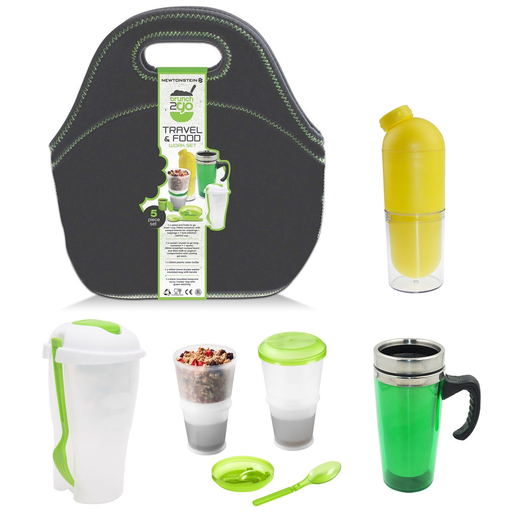 Brunch2Go - 5 pcs Travel and Work Food set with a Multi-Compartment Salad/Lunch Container,