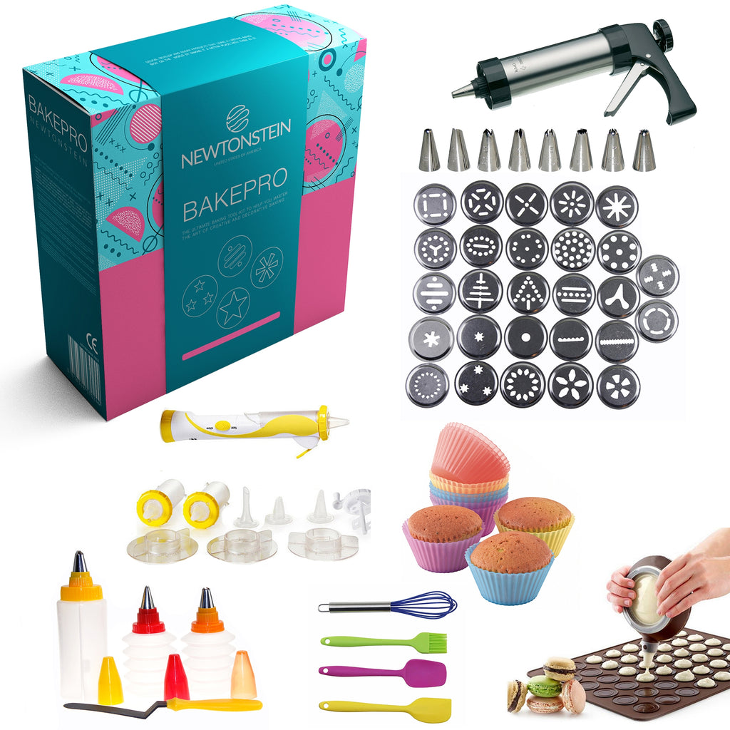 BakePro - 72 pcs Deluxe Stainless Steel Cake, Biscuit and Icing set with 27 discs, 8 nozzles,