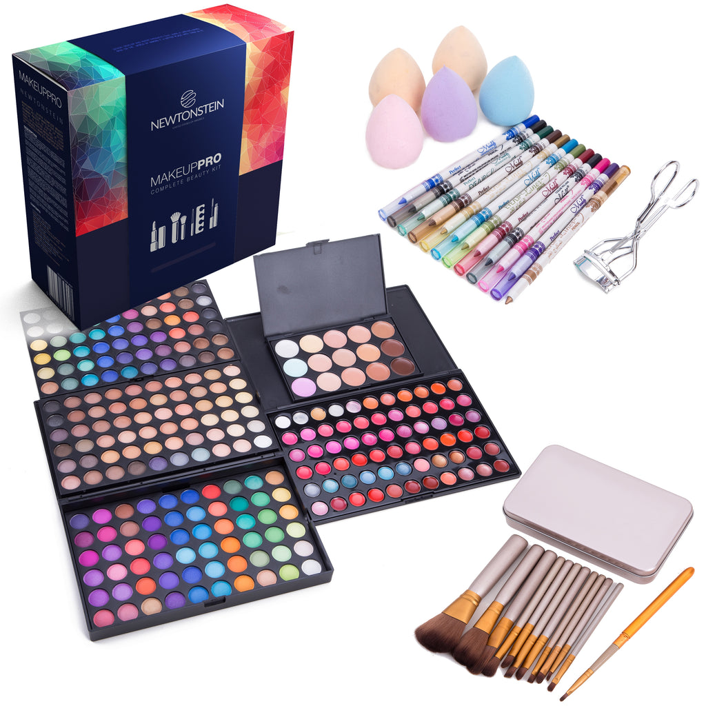 MakeUpPro - 291pcs Complete Beauty Kit With 180 Color Make-Up Eye Shadow Shimmer Palette, 66 Color