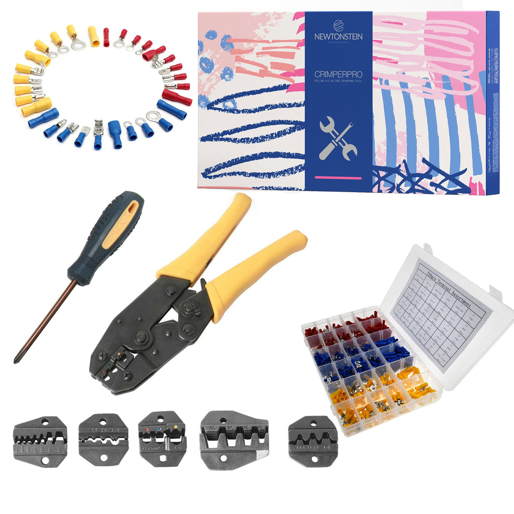 CrimperPro - 470 pc kit with Crimping Tool + 5 Removable Crimper dies/attachments, Crosshead