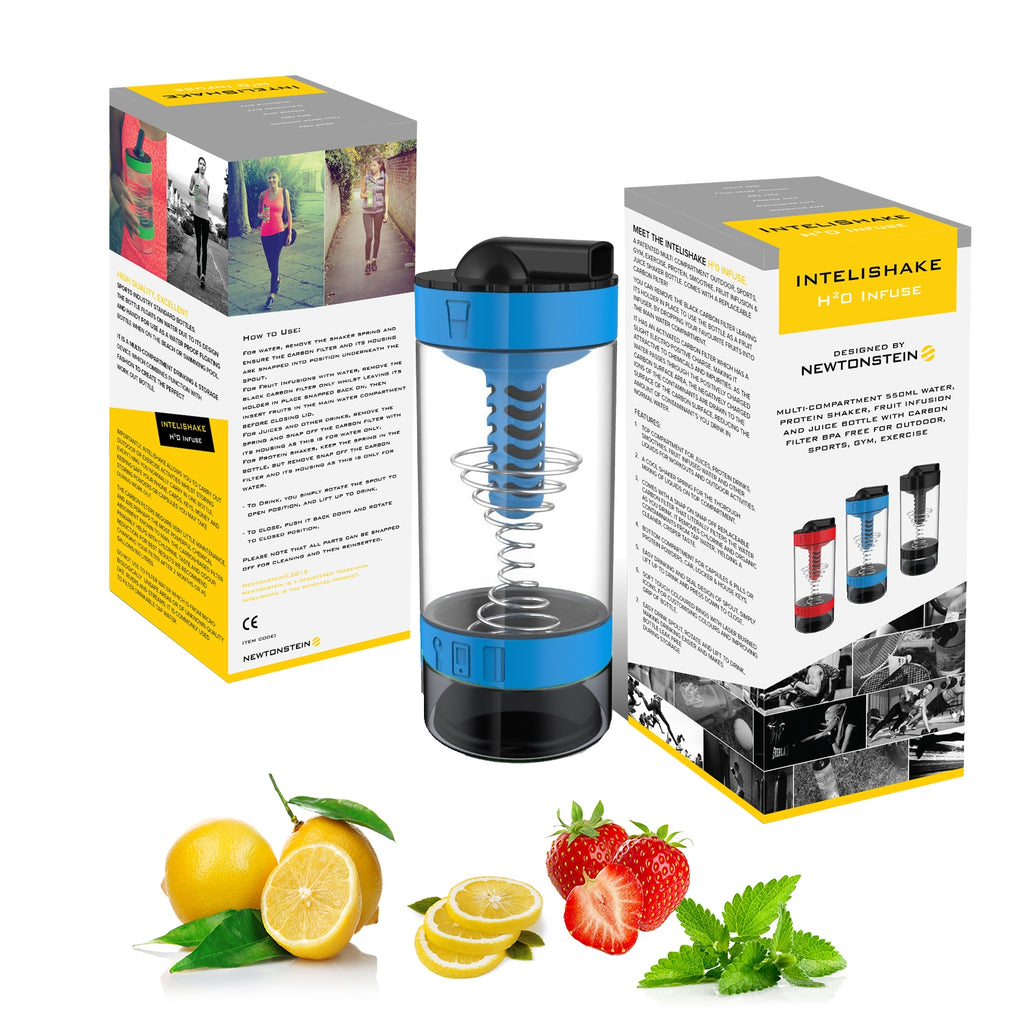 Intelishake H20 INFUSE - Cyclone Blue - Multi-Compartment 550ml Water, Protein shaker, Fruit