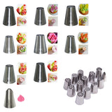 FlowerCraft - 17pc set with 12 various Russian Flower and leaf making icing nozzle tips with 2