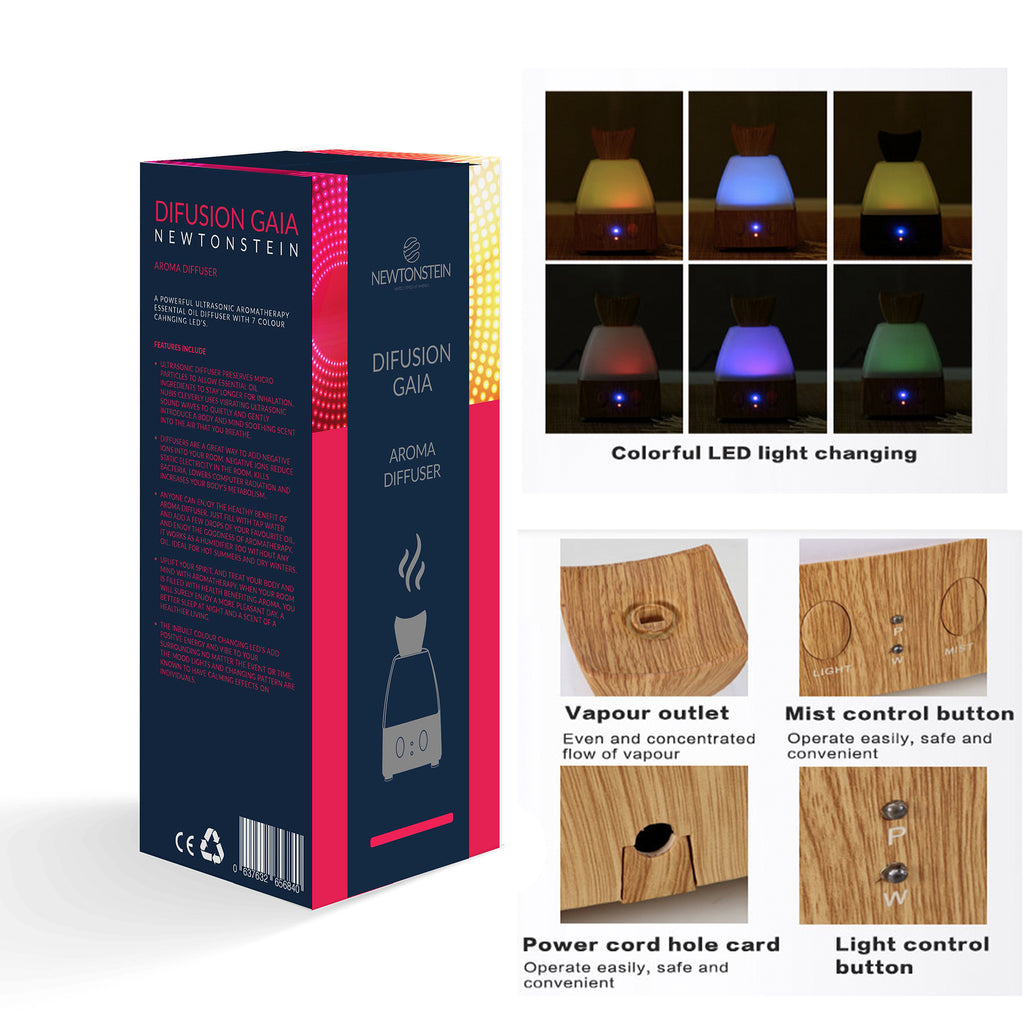 Difusian GAIA - A Powerful Ultrasonic Aroma Therapy Essential Oil Diffuser with Color changing