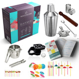 Barmix - 56pcs Stainless Steel Cocktail Shaker set - 750 mL Shaker cup, Strainer, Twisted Mixing