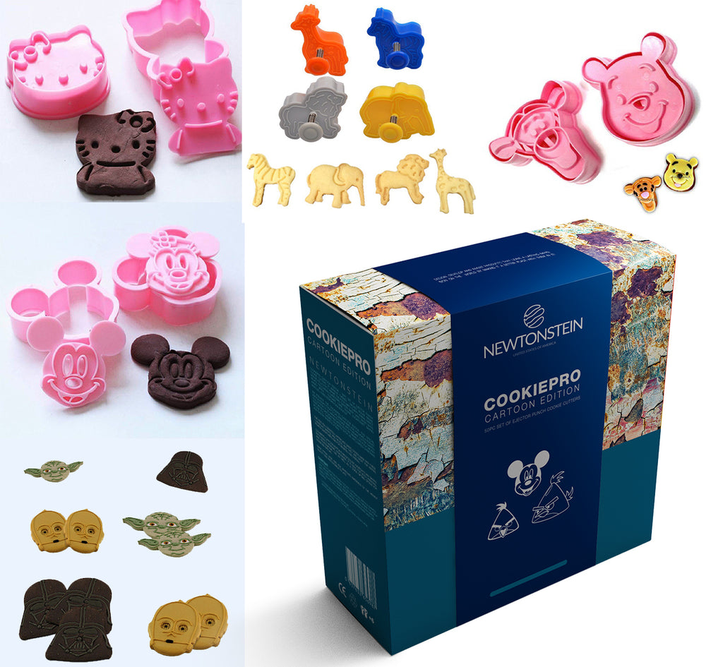 Cookiepro Cartoon Edition - 50pc Set Of Ejector Punch Cookie Cutters In Various Themes - Mickey