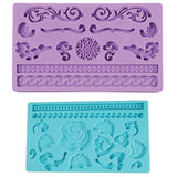 DecoCraft - 8 Pcs Various Cake Silicone Cake Decorating designs and borders Icing Moulds for Cakes,