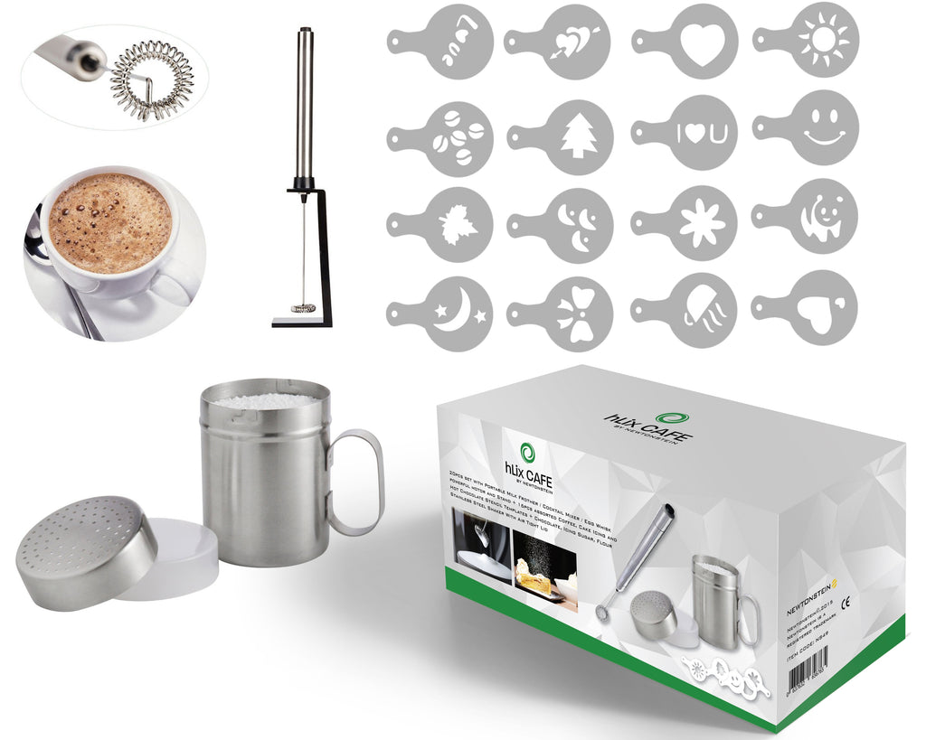 hLix CAFE - 20pcs set with Portable Milk Frother / Cocktail Mixer / Egg Whisk powerful motor and