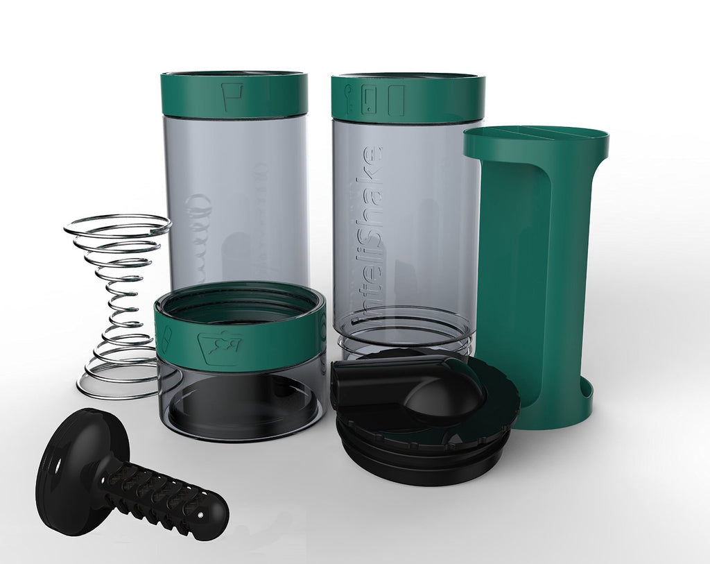Intelishake, Dragon Teal - Shaker bottle Multi-Compartment Protein/Workout/Juice with water carbon