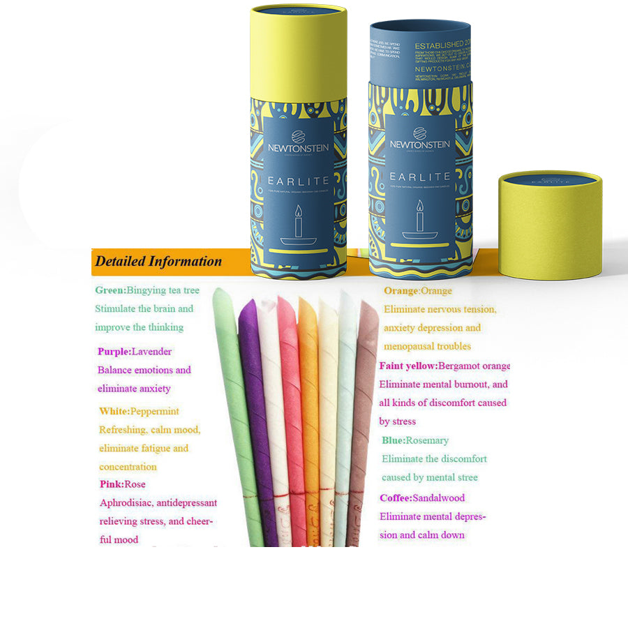 Earlite - 48pcs 100% Pure Natural Organic Beeswax Ear Candles with different Aromas + filter