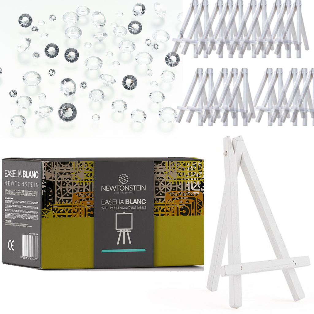 Easelia BLANC - 2010pcs kit with 10 White Wooden Mini Table Easels 6 inch + FREE 2000pcs Clear