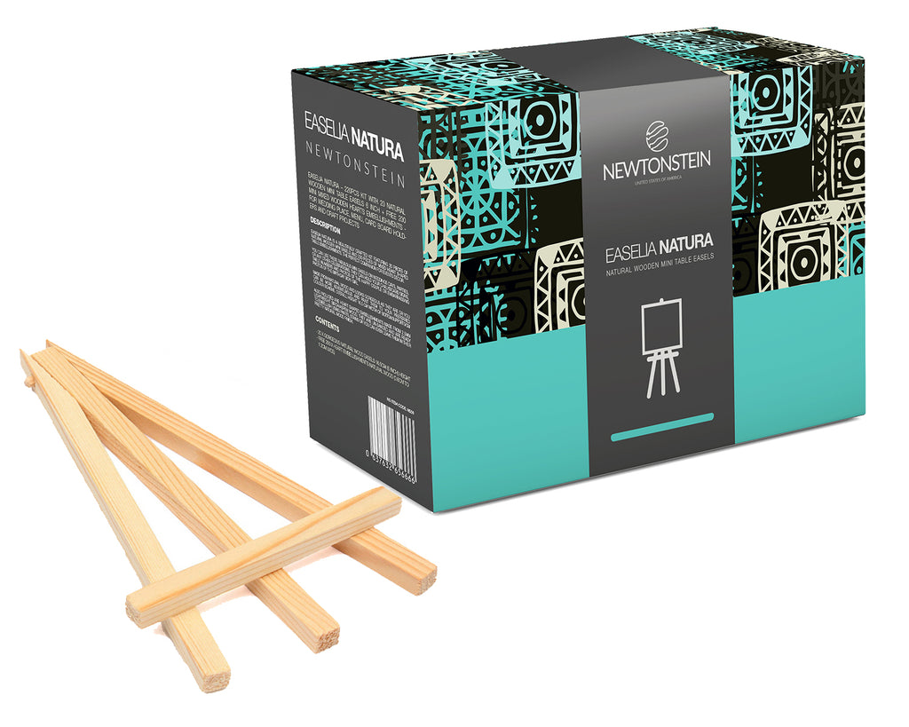 Easelia NATURA - 220pcs kit with 20 Natural Wooden Mini Table Easels 6 inch + FREE 200 Mini Mixed