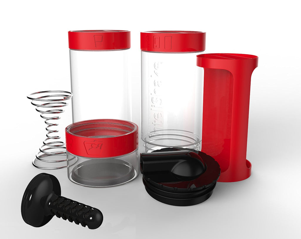 Intelishake, Fiery Red - Shaker bottle Multi-Compartment Protein/Workout/Juice with water carbon
