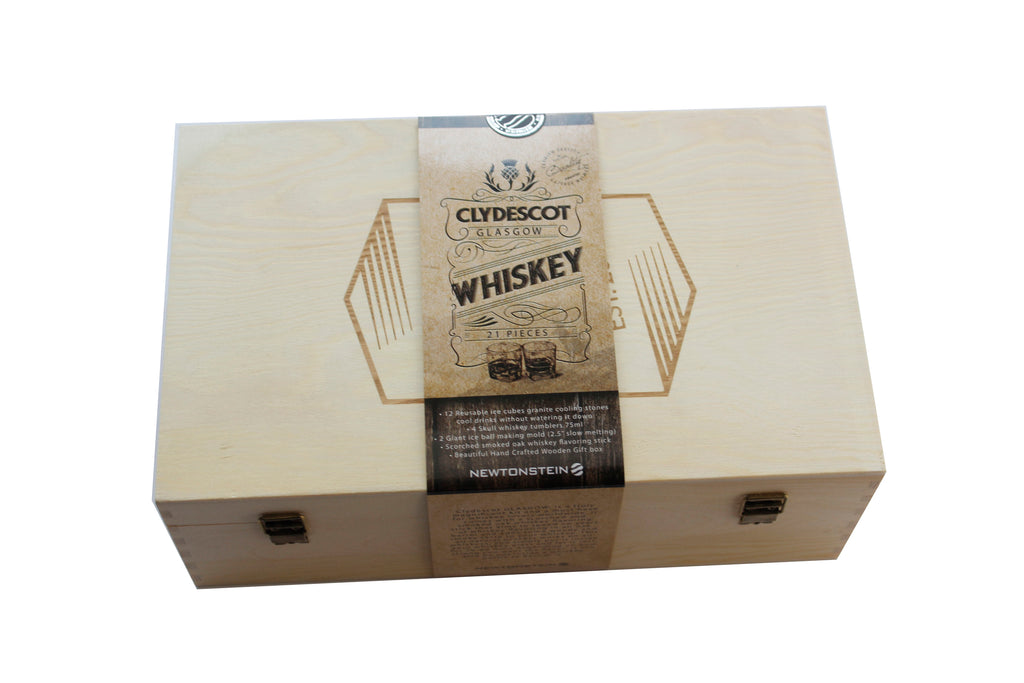 Clydescot GLASGOW - 21pcs Whiskey Gift Set - 12 Reusable Ice Cubes Granite Cooling Stones Cool