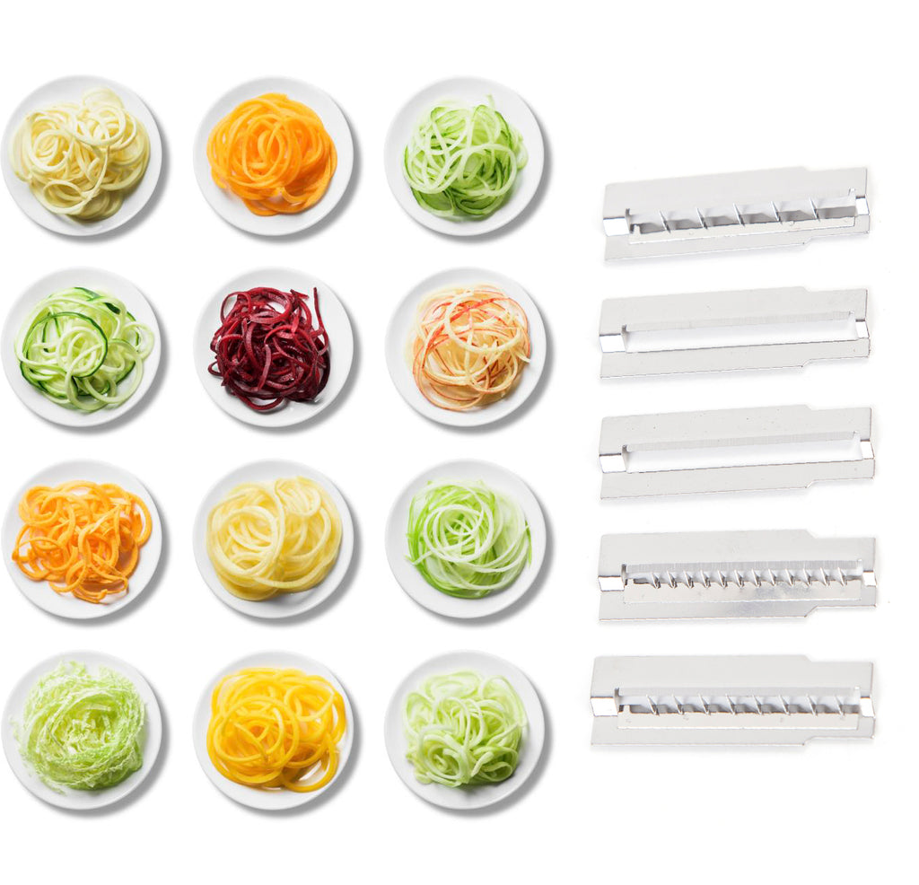 Spiralina2Go - vegetable Spiraliser with 5 cutting tools to make Spaghetti / julienne, tagliatelli