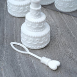 BubbleBliss CHAMPAGNE - 48 White Wedding Cake Bubble Favours with Confetti for table décor