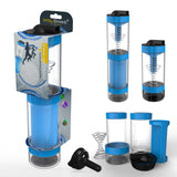 Intelishake, Cyclone Blue - Shaker bottle Multi-Compartment Protein/Workout/Juice with water carbon
