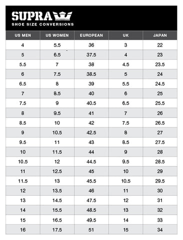 Supra Shoes Size Chart
