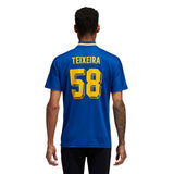 Adidas Teixeira Jersey - Collegiate Royal/Bold Gold/White Back with model