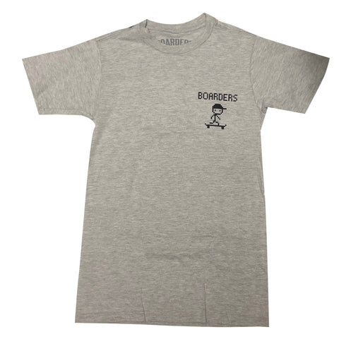 Boarders 8 Bit S/S Tee - Heather Grey Front