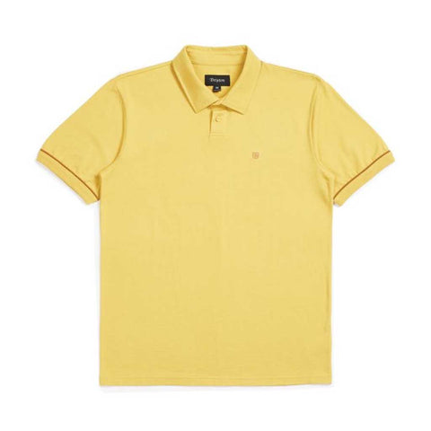 Brixton Carlos S/S Polo Knit - Sunset Yellow Front