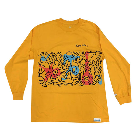 Diamond x Haring Rhythm and Motion L/S Tee - Yellow Front