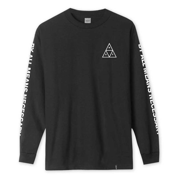 Huf Essentials Triple Triangle L/S Tee - Black Front