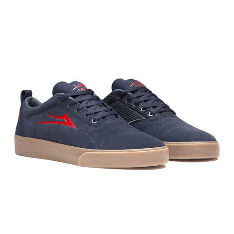 Lakai Bristol Shoes - Navy/Red Suede Side
