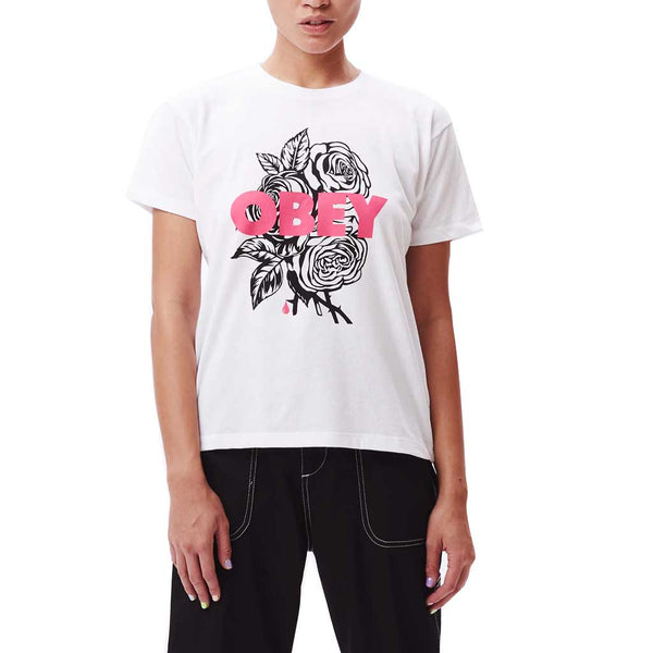 Obey Women's Obey Blood and Roses Tee - White