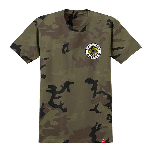 Spitfire OG Circle Tee - Camo/White/Yellow Front