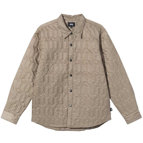 Stussy Women's Quilted Insulated Shirt - Beige Front