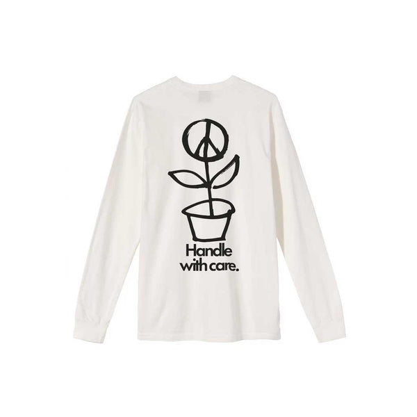 Stussy Women's Peace Pot Pig. Dyed L/S Tee - Natural Back